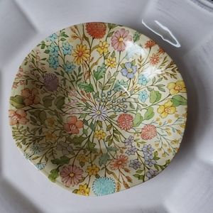 Small vintage floral metal dish, bowl.